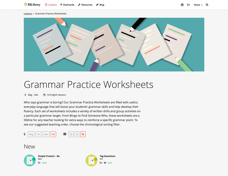 Esl Library Grammar Practice Worksheets Worksheets