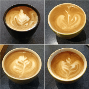Latte art from Bellman Steamer