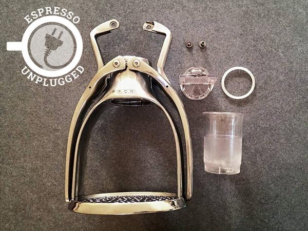disassembled rok espresso maker