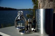 ROK espresso maker with a CERA coffee grinder