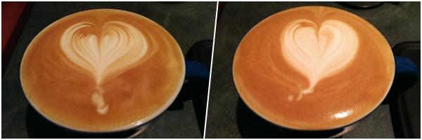 latte hearts