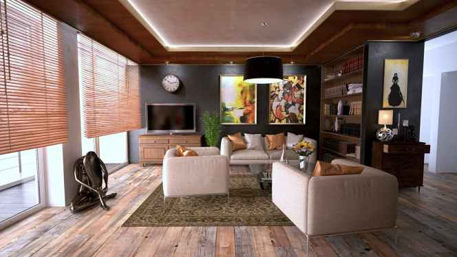 A nicely decorated living room with window blinds curtains vs blinds EstateJio Singapore sg