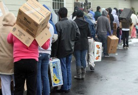 ethan holmes food bank line thanksgiving