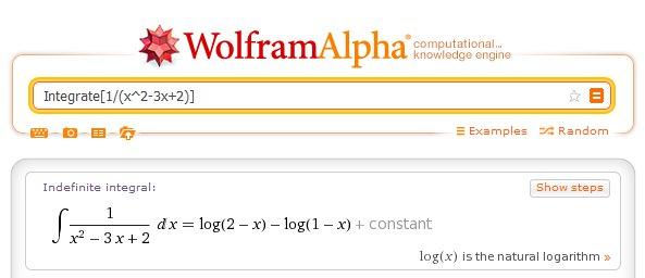 Całka wymierna z 1/(x^2-3x+2) w Wolframie
