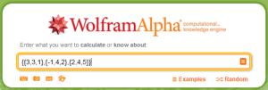 Przykład macierzy wpisanej w Wolframa