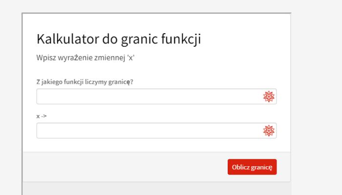Kalkulator do granic (funkcji, jednej zmiennej)