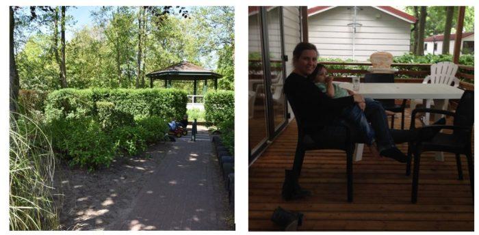 Camping Duinrell: op de veranda van de Eurocamp stacaravan