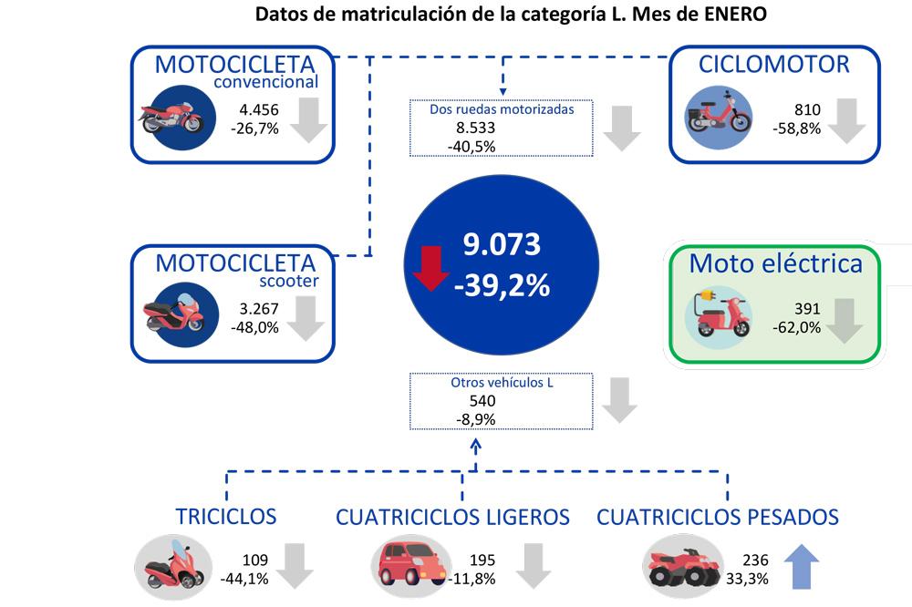 Gráfico matriculaciones motos enero 021