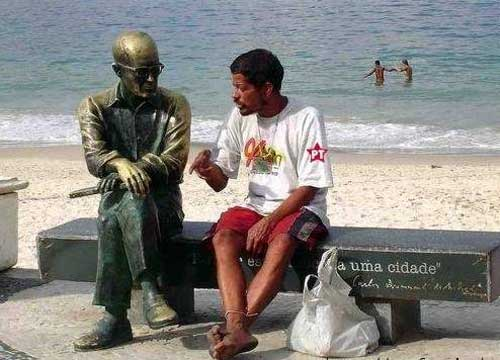 Drunk talking to a statue