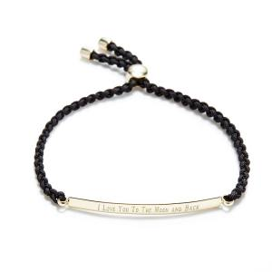 Engravable black fabric gold plated bracelet, engravable bracelets from eves addiction