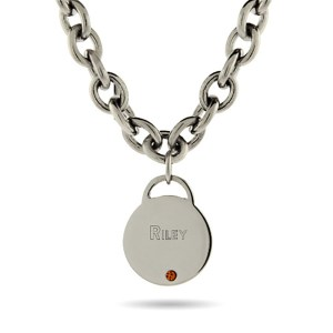 Engravable stainless steel pendent with cubic zirconia stones