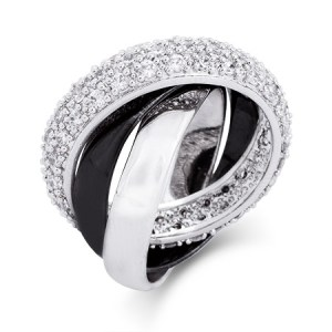 Custom black and sterling silver cz trinity ring