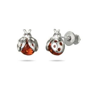 children's sterling silver amber ladybug stud earrings