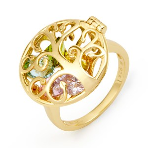 Gold mom rings with birthstones tree locket ring