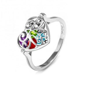Custom Caged Heart Locket ring a mom ring with birthstones