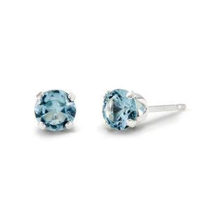 children's aquamarine birthstone stud sterling silver earrings