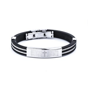 black and white lords prayer mens cable band bracelet