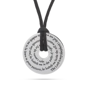 the Lord is my shepherd prayer sterling silver engraved pendant