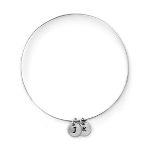 double mini initial couples customizable bangle eves addiction next day jewerly delivery