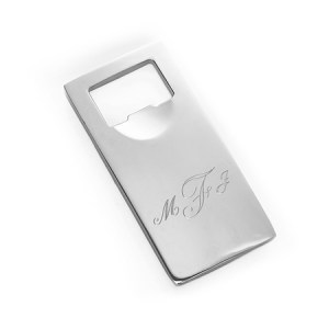 engravable stainless steel silver rectangle bottle opener for dad on fathers day