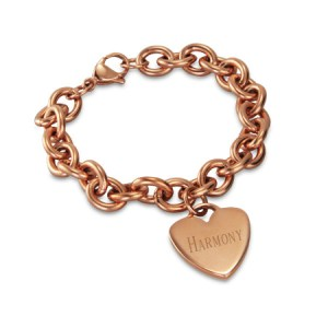 rose gold aunt bracelet and rose gold heart tag bracelet