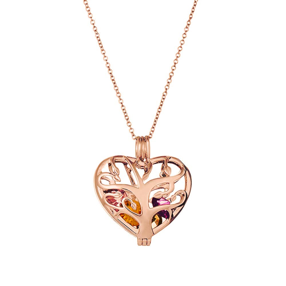 rose gold heart shaped family tree pendant birthstone necklace mothers day gift for mom eves addiction