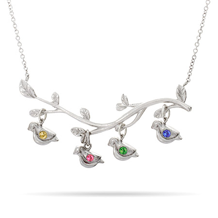 4 birds on a brach 4 stones family birthstone gifts for her on mothers day eves addiction