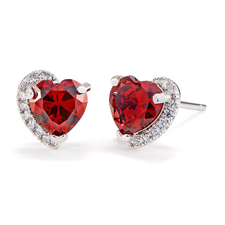 custom birthstone heart cz studs sterling silver shaped git for grandma