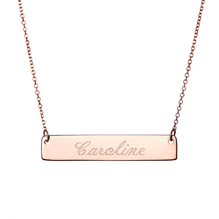 wide name rose gold bar necklace engraved name for mothers day gift ideas 2018 personalized gift