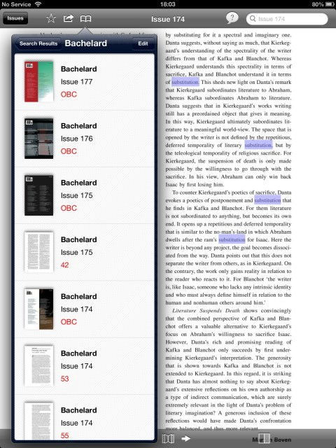 Search results for 'Bachelard' are now saved to the iPad