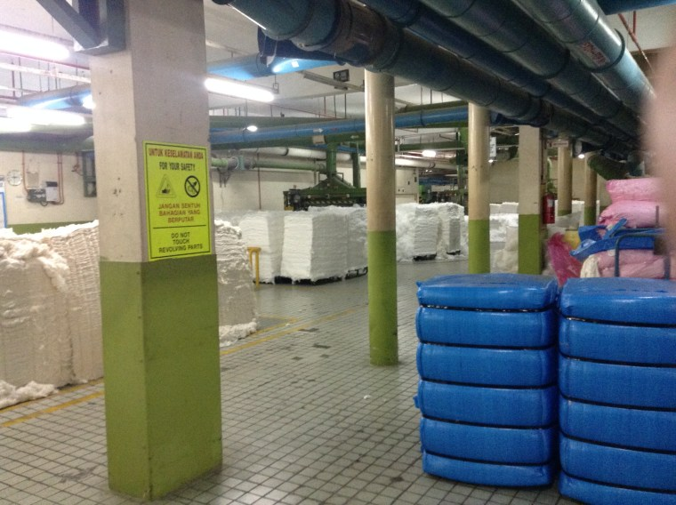 Bales of cotton and polyester fibers