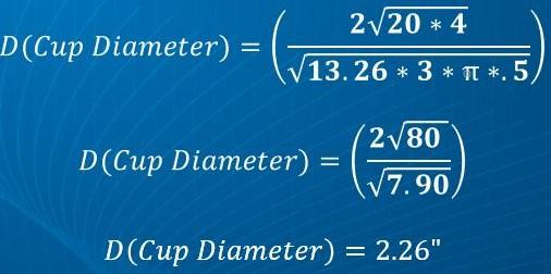 Cup Diameter Formula Solved