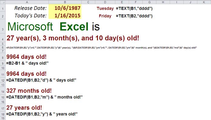 Excel's DateDif function - Calculate Your Age formulas