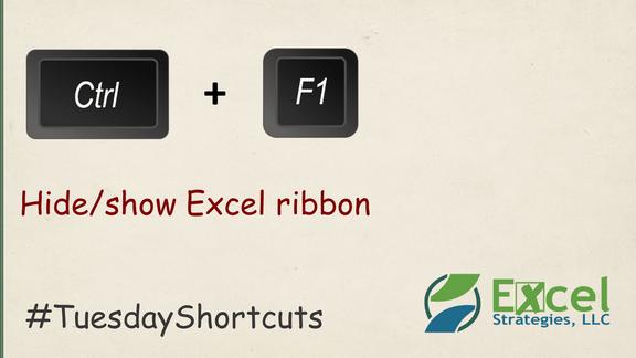 CTRL+F1 - Hide/show Excel ribbon