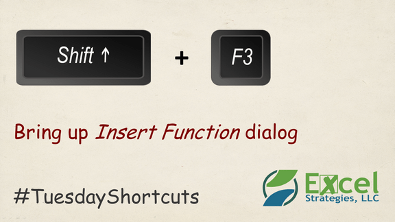 SHIFT + F3 - Bring up Insert Function dialog