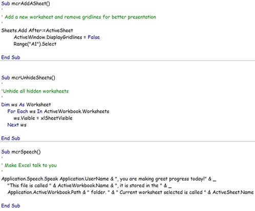 Personal Macro Excel Workbook - VBA code