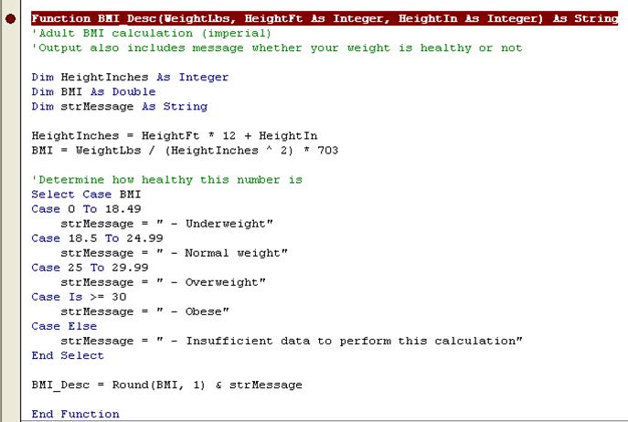 Excel UDF, custom function to convert temperatures and BMI calculator