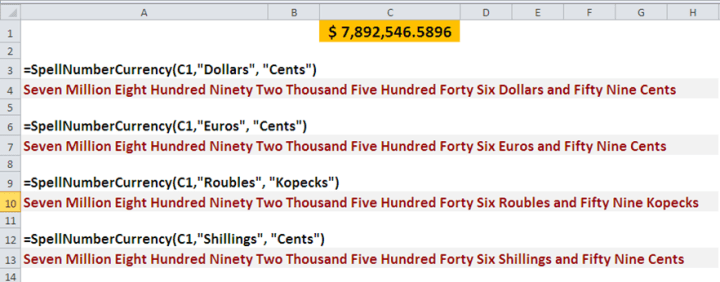 Excel UDF, custom function to spell a number.