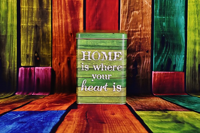 home is where the heart is on colorful background