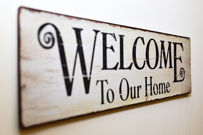 words welcome to our home
