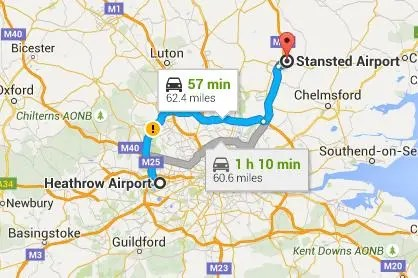 Heathrow to Stansted by National Express, London Underground, Minicabs and Taxis