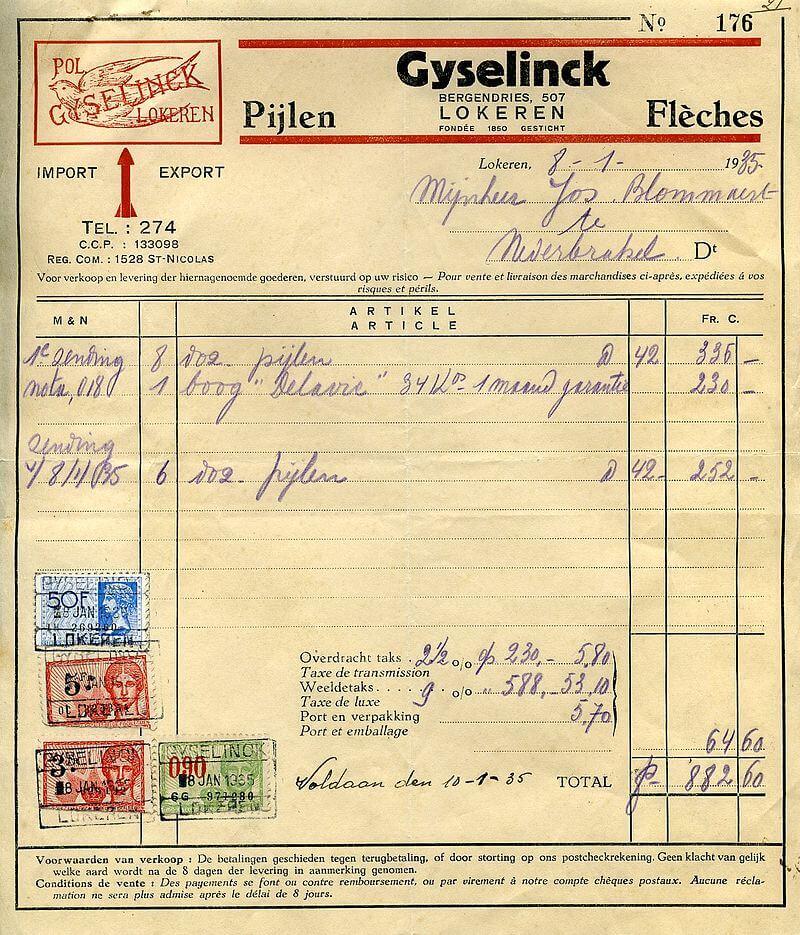 facture qui date de 1935