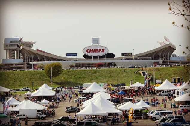 Arrowhead Stadium overlooking the dozens of companies taking part in the KCCC Kickoff Party.