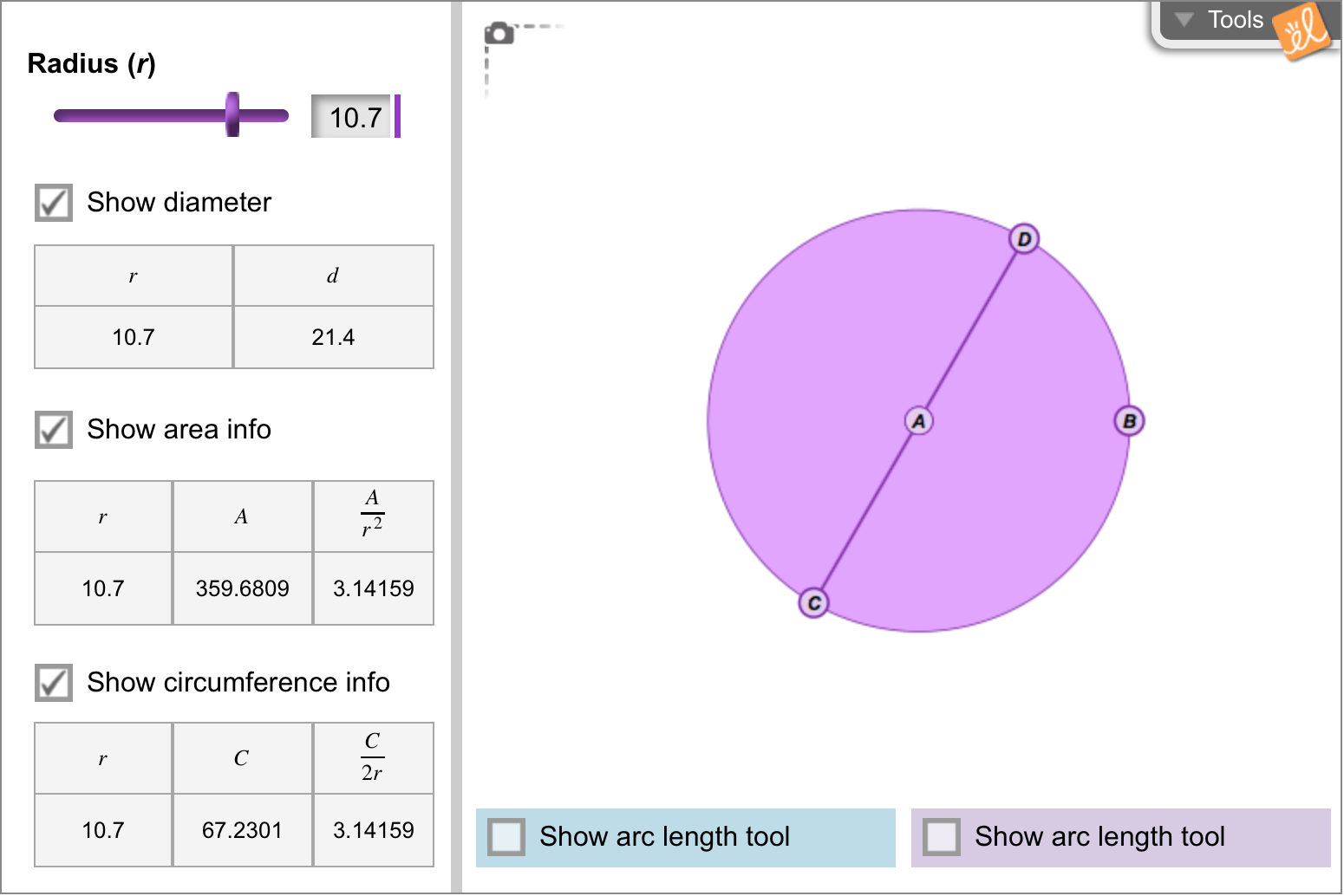 Gizmo Of The Week Circumference And Area Of Circles