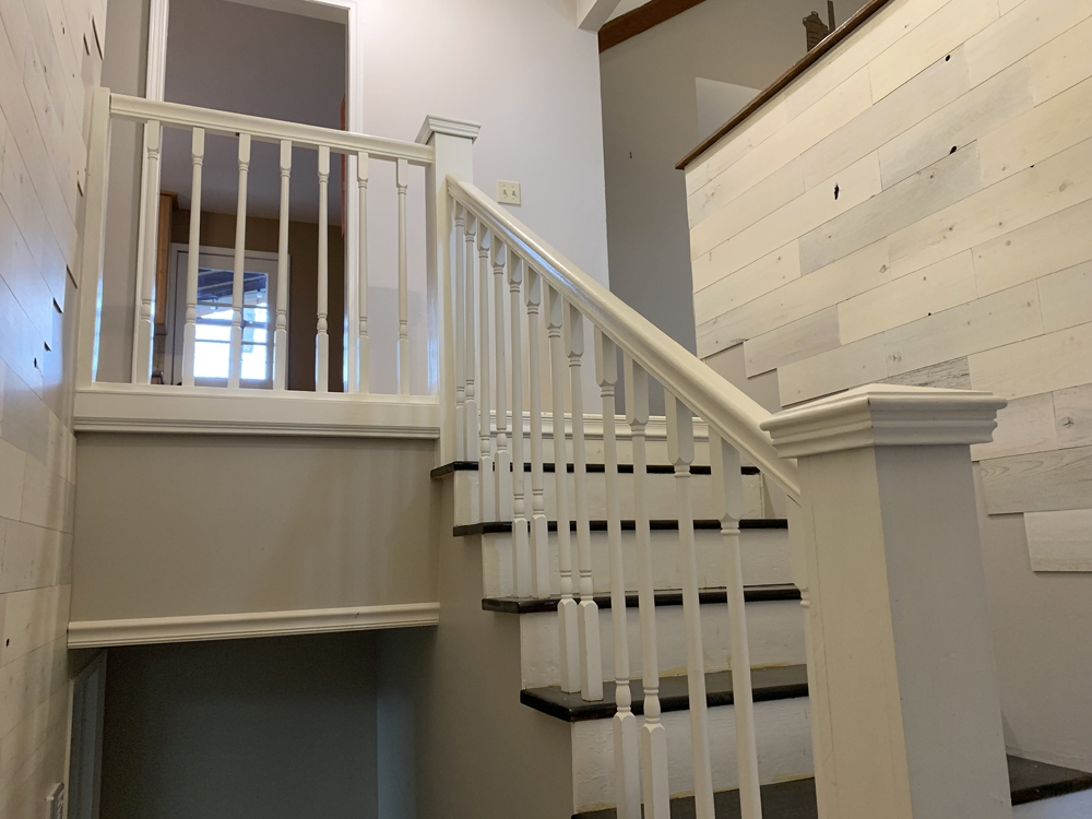Stair Rail Removal Extreme How To Blog   Split Level Stair Railing   Electrical Conduit   Wood   Julia   Entryway   Tri Level