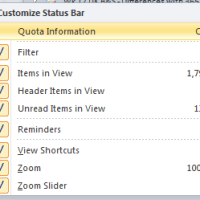 Showing Your Outlook Mailbox Size on the Status Bar