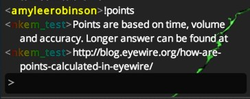 !points chat bot command eyewire
