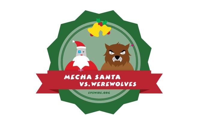 santa vs werewolf, flat design, holiday design, eyewire, citizen science
