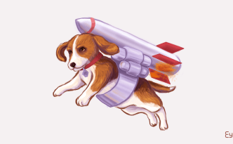beagle with rocket