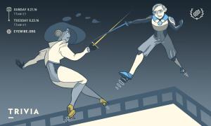 Eyewire, citizen science, trivia, Summer Olympics, eyewire, heroes, fencing, heroes of eyewire, jetpack fencing, flying fencing